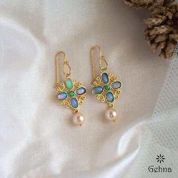 Vivid Australian Opal & Emerald Hook Earrings