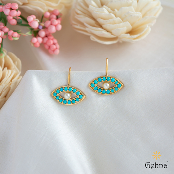 Evil Eye Turquoise and Pearl 18K Gold Earrings