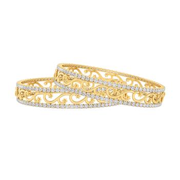 Regal 18K Gold and Diamond Bangle (2'6 Size & 1pair)