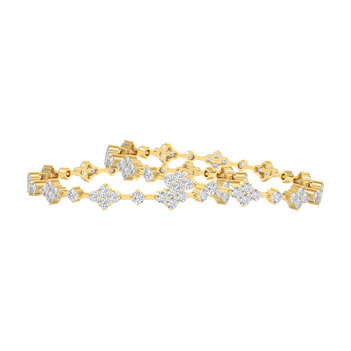 Enigmatic Diamond and 18K Gold Bangle (2'6 Size & 1pair)
