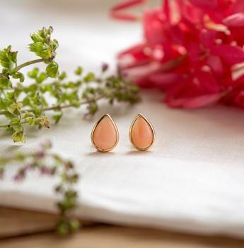 Angelic Coral 18K Gold Stud Earrings