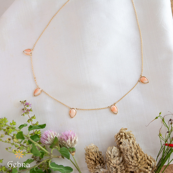 Radiant Natural Coral 18K Gold Chain (16 inches)