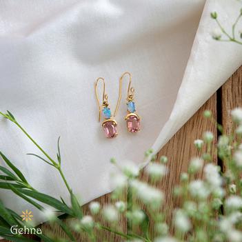 Sparkling Opal and Tourmaline 18K Gold Hook Earrings