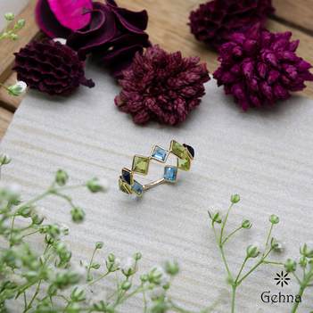 Kaleidoscope Blue Topaz & Blue Sapphire 18K Gold Ring