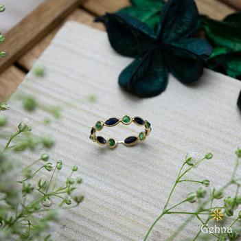 Dainty Blue Sapphire and Emerald 18K Gold Eternity Ring