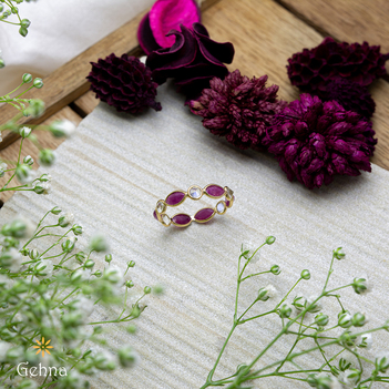 Festive Ruby and Moonstone 18K Gold Eternity Ring