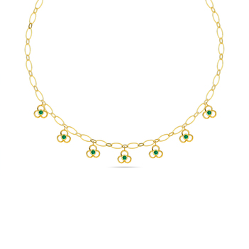 Floral Natural Emeralds 14K Gold Chain (16 inches)