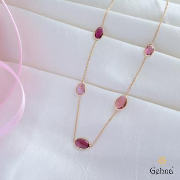 Dainty Pink Tourmaline & 18K Gold Chain (16 inches)