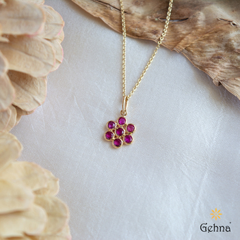Radiant Natural Ruby Gold Pendant & Chain (18 inches)