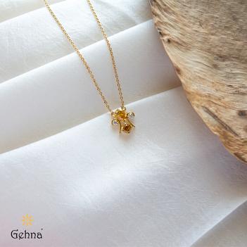 Champagne Diamond 18K Gold Pendant Chain (16 inches)