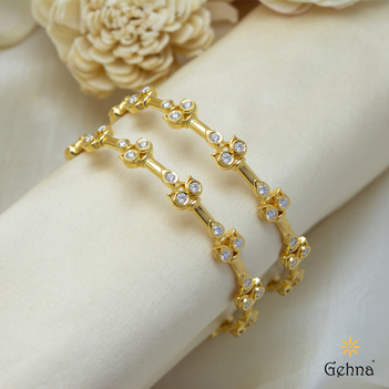 Authentic Gold and Diamond Bangle (2'4 size & 1Pair )