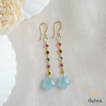 Exquisite Aquamarine & Multi Tourmaline Gold Earring