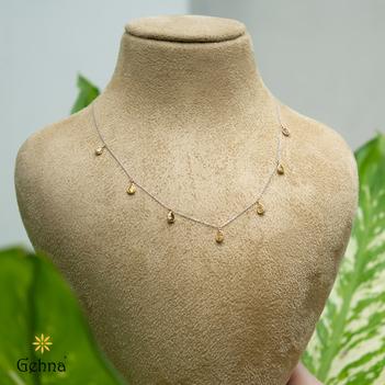 Elegant Yellow Diamond & White Gold Chain (16 Inches)
