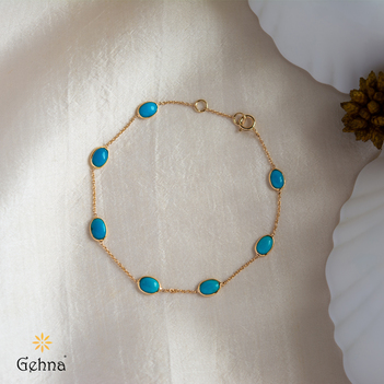 Tranquillity Natural Turquoise Gold Bracelet (7 Inches)