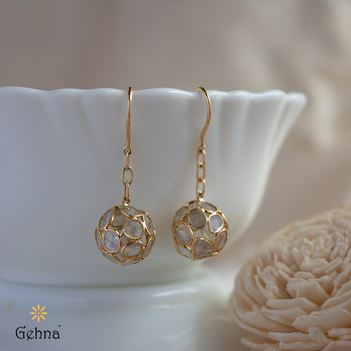 Festive Gold and Polki Diamond Earrings
